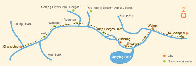Downstream: Chongqing > Shanghai