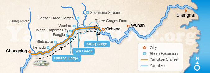 Downstream: Chongqing > Yichang