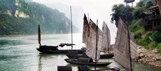 Small Sailing Boats on the Yangtze River